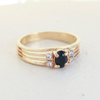 Vintage Jet Black and Clear Swarovski Crystal Ring 18k Yellow Gold Electroplated Made in USA