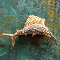 Vintage Fish Pin Clear Swarovski Crystals 18k Yellow Gold Electroplated Made in USA