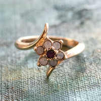 Vintage 1970's Amethyst Crystal and Genuine Pinfire Opal Ring 18kt Yellow Gold Electroplated Ring