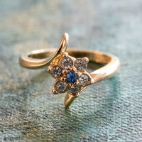 Vintage 1970's Sapphire and Clear Swarovski Crystal Ring 18kt Yellow Gold Electroplated Ring