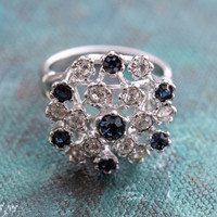 Sapphire and Clear Swarovski Crystal  18k White Gold Electroplated Cluster Ring Made in USA
