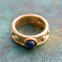 Sapphire Glass Cabocon 18k Brushed Yellow Gold Electroplated Ring Made in USA