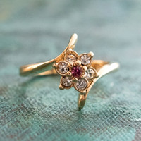 Vintage 1970's Pink Tourmaline and Clear Swarovski Crystal Ring 18k Yellow Gold Electroplated Made in USA