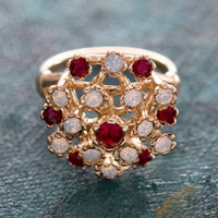 Vintage Ring Pinfire Opals and Ruby Swarovski Crystals 18k Yellow Gold Electroplated Edwardian Style Made in USA