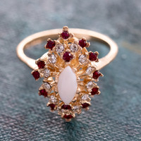 Vintage Genuine Opal Surrounded by Clear and Ruby Swarovski Crystal Cocktail Ring 18k Yellow Gold Electroplated Made in USA
