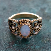 Vintage Pinfire Opal Filigree Ring Antiqued 18k Yellow Gold Electroplated Made in the USA
