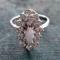 Vintage Genuine Opal and Clear Swarovski Crystals 18k White Gold Electroplate Victorian Style Ring Made in USA