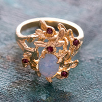 Vintage Flower Petals Ring with Jelly Opal and Ruby Crystals 18k Yellow Gold Electroplated Made in USA