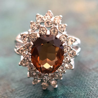 Vintage Smokey Topaz  and Clear Swarovski Crystal 18k White Gold Electroplated Cocktail Ring Made in USA