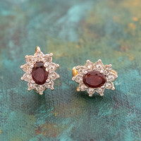 Vintage Genuine Garnet Surrounded by Clear Swarovski Crystal Clip Earrings 18k Yellow Gold Electroplated Made in USA