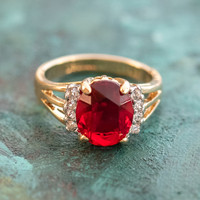 Vintage 1980's Ruby Cubic Zirconia Ring with Clear Swarovski Crystals 18k Yellow Gold Electroplated Made in USA