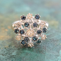Vintage Ring Sapphire and Clear Swarovski Crystals 18k White Gold Electroplated Made in the USA