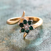 Vintage 1970's Emerald and Swarovski Crystal Ring 18k Yellow Gold Electroplated Ring Made in USA
