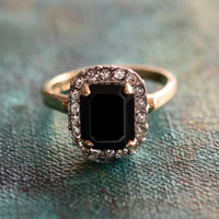 Vintage Black and Clear Swarovski Crystal 18k Yellow Gold Electroplated Ring Made in USA