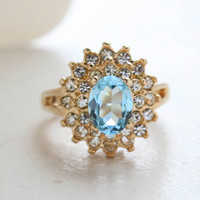 Vintage Jewelry Aquamarine Cubic Zirconia and Clear Austrian Crystals Cocktail Ring in 18kt Yellow Gold Electroplate Made in the USA
