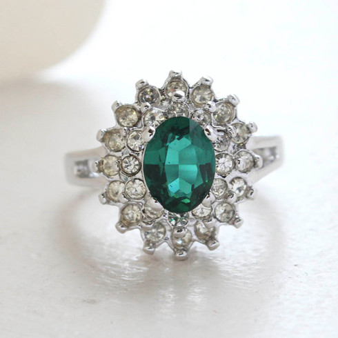 Vintage Jewelry Emerald Cubic Zirconia and Clear Austrian Crystals Cocktail Ring in 18kt White Gold Electroplate Made in the USA