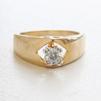 Vintage Ring Swarovski Crystal 18k Yellow Gold Electroplated Engagement Style Ring