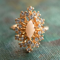 Vintage Genuine Opal and Clear Swarovski Crystals 18k Yellow Gold Electroplate Victorian Style Made in USA