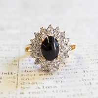 Vintage Genuine Onyx and Clear Swarovski Crystals 18k Yellow Gold Electroplated Made in USA