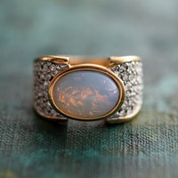 Vintage Genuine Pinfire Opal and Clear Swarovski Crystal Cocktail Ring 18k Yellow Gold Electroplated Made in USA