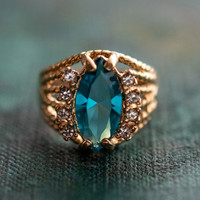 Vintage Blue Zircon Swarovski Crystal Edwardian Ring 18k Yellow Gold Electroplated