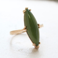 Vintage Genuine Jade Ring 18k Yellow Gold Electroplated Made in the USA