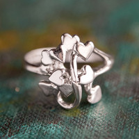Vintage 1970's Heart Cluster Ring 18k White Gold Electroplated Made in USA