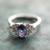 Vintage Ring Tanzanite Cubic Zirconia and Clear Crystals 18kt White Gold Electroplated Made in USA #R1862-TW