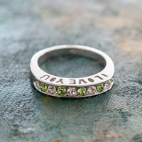 Vintage 1980s I Love You Ring Band Ring Peridot and Clear Swarovski Crystals Silver Tone Imported