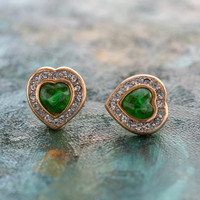 Vintage Emerald Cabochon Heart and Clear Crystal Pierced Earrings 18kt Yellow Gold Electroplated