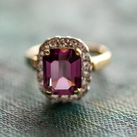 Vintage Jewelry 18k Yellow Gold Electroplated Amethyst Swarovski Crystal Cocktail Ring Made in the USA