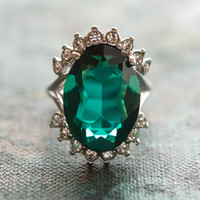 Vintage Emerald and Clear Swarovski Crystal Ring 18kt White Gold Electroplated Made in USA