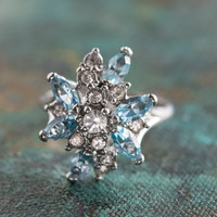 Vintage Aquamarine and Clear Swarovski Crystals 18k White Gold Electroplated Unique Cluster Ring Made in USA