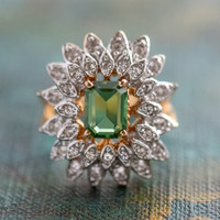 Vintage 1970's Green Tourmaline and Clear Swarovski Crystals 18k Yellow Gold Electroplated Made in USA