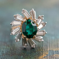 Vintage Emerald and Clear Swarovski Crystal Cocktail Ring 18kt Yellow Gold Electroplated Made in the USA
