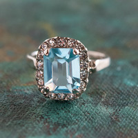 Vintage 1970s Ring set with Aquamarine Swarovski Crystal 18k White Gold Plated March Birthstone