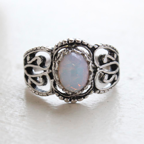 Vintage Jewelry Pinfire Opal Ring 18kt White Gold Antiqued Plating Made in the USA