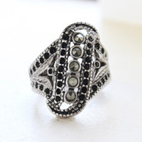 Vintage Genuine Marcasite Ring Antiqued 18k White Gold Electroplated Filigree Setting Made in USA