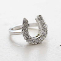 Vintage Horseshoe Ring with Clear Austrian Crystals 18kt White Gold