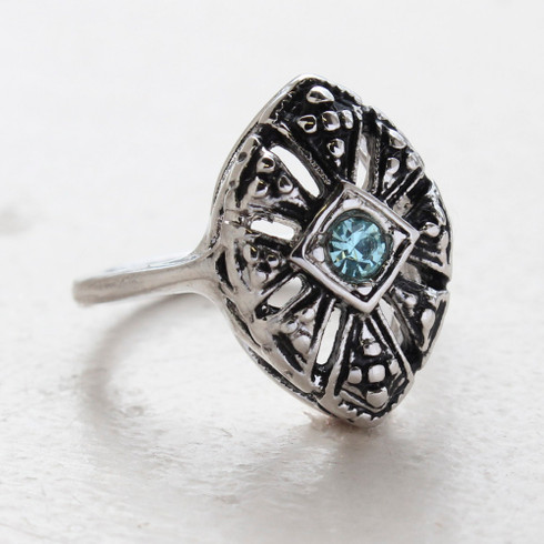 Vintage Jewelry Aquamarine Crystal Cocktail Ring in 18k Antiqued White Gold Electroplated Setting Made in the USA