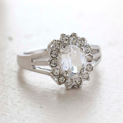 Vintage Jewelry Clear CZ Surrounded by Clear Austrian Crystals Birthstone Ring Made in the USA
