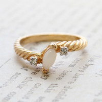 Vintage Ring Dainty Genuine Opal Ring with Swarovski Crystals Made in the USA