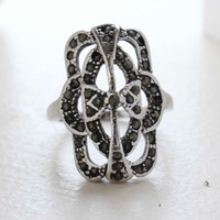 Vintage Genuine Marcasite Cocktail Ring 1800s Design 18k Antiqued White Gold Electroplate