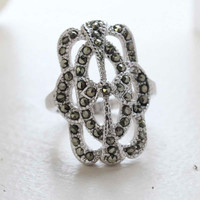 Vintage  Genuine Marcasite Cocktail Ring 1800s Design 18k White Gold Electroplate