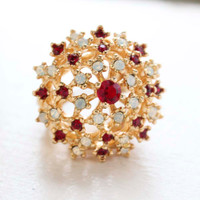 Vintage Ring Ruby Swarovski Crystals and Pinfire Opal Burst Cocktail Ring