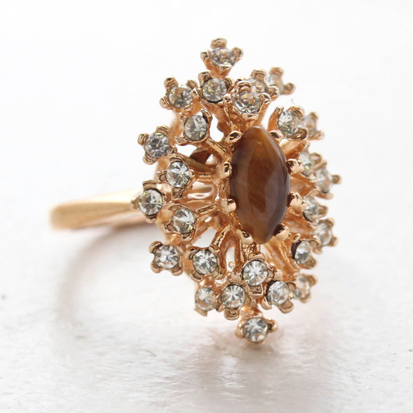 8fc2b8f25 Vintage Ring Genuine Tiger Eye Stone Surrounded by Clear Austrian Crystals  Cocktail Ring 18kt Yellow Gold Electroplated Made in USA | Rings |  Providence ...