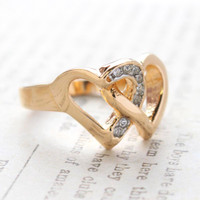 Vintage Clear Crystal Double Heart Ring