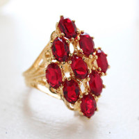Vintage Jewelry Large Ruby Swarovski Crystal Cocktail Ring