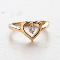 Vintage 1970s Swarovski Crystal Heart Ring 18k Yellow Gold Electroplated Made in the USA