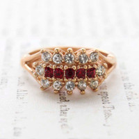 Vintage Jewelry Ruby and Clear Swarovski Crystal Cocktail Ring 18k Yellow Gold Electroplated Made in the USA